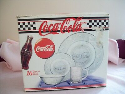 Coca Cola Clear Textured Glass Dishes - 15 Pieces in Original Boxes