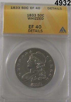 1833 Capped Bust Half Dollar Anacs Certified Ef40 Details Whizzed #4932