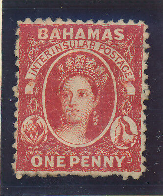 Bahamas Stamp Scott #12, Unused, No Gum, Hinge Remnants, 1863-75 1p QV