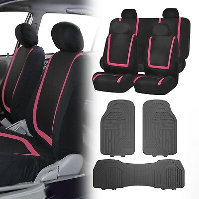 Flat Cloth Seat Covers Pink & Black with Classic Rubber Trimmable Floor Mats