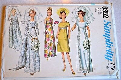 VINTAGE 1965 SIMPLICITY Wedding Dress Pattern 6353 with detachable ...