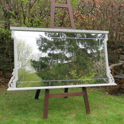 Antique Large French / Spanish Modernista Overmantle Mirror, Painted Oak 1900