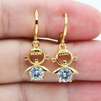 18K Yellow Gold Filled Lady Lovely Girls White Round Topaz Dangle Earrings Gifts