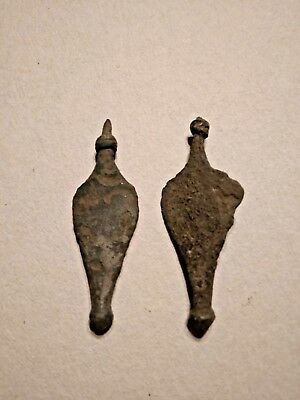 Pair Ancient Byzantine Bronze Earrings 400-500 AD Uncleaned