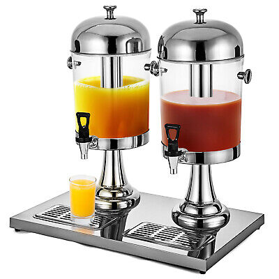 2*8L Juice Drink Beverage Dispenser Water Beer Round Stainless Steel 16L Kitchen