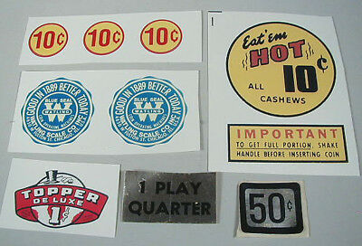 Group of Decals for Gumball and Peanut Machines, No Reserve