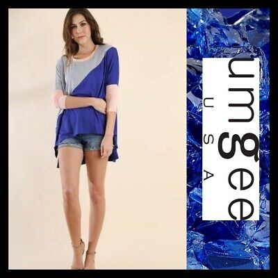 OVERSIZED SML UMGEE CORAL, COBALT OR DUSTY ROSE colorblock Tunic/Top/Shirt BHCS