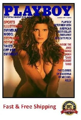 Vintage Playboy Magazine March 1991 featuring Stephanie Seymour Free Shipping