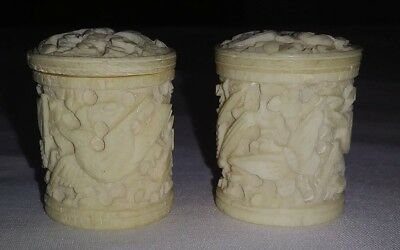 Lot 2 Antique Carved Bovine Bone Etui - Holder - Case - Sewing - 1850's