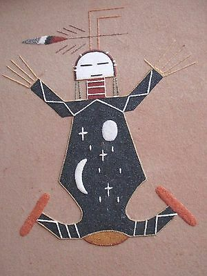 Vintage Original Navajo Sand Painting Signed Rita Johnson New Mexico Father Sky