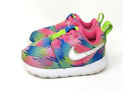 online store e4399 4c215 NIKE ROSHE ONE Print Toddler Girl Size 5 Athletic Shoes Pink Green Blue VGUC