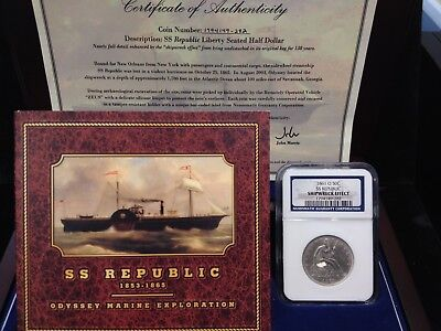 1861 O 50C NGC SS Republic Shipwreck Seated Liberty Silver Half Dollar With Box