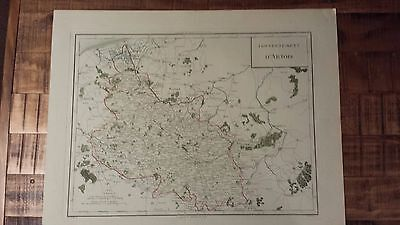 VERY NICE, ANTIQUE Hand Colored map of Artois, France - P. Tardieu, c.1790