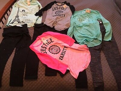 Lot of 8 Girls JUSTICE Tops Tees Leggings Size 8 NWT!