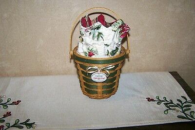 "2007 Longaberger ""Peppermint Stripe"" Tree Trimming Basket – Green - Used"