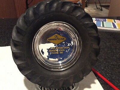 VINTAGE OLD GOODYEAR Tractor TIRE ASHTRAY -From Remsen Iowa
