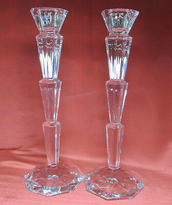 Beautiful  Pair Of Tall Elegant Crystal Clear Candle Holders Step Pattern