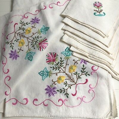 Vintage Linen Large Tablecloth Pink Purple Flowers Hand Embroidered + 6 napkins
