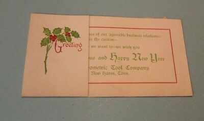 1917 The Geometric Tool Company Advertising Christmas Card New Haven Connecticut