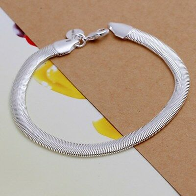 Fashion 925Sterling Solid Silver Men Jewelry 6mm Chain Bracelet For Women H164