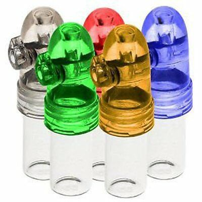 5Pcs Clear Acrylic Snorter Sniffer Snuff Powder Bullet Dispenser US Free Ship