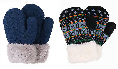 2 Pairs Winter Warm Boys Girls Kids Thick Fur Lined Gloves Knitted Mittens