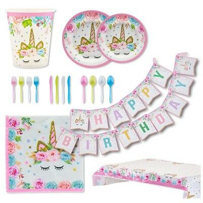 Unicorn Girls Birthday Party Supplies Baby Shower Pink Magical Stars Tableware