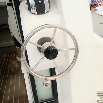 "5 Spokes Polished Stainless Steel 11"" Boat Steering Wheel  for Marine Yacht"