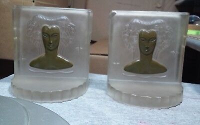 Incredible antique Art Deco pressed glass bookends (2)