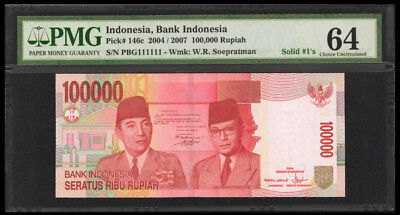 Indonesia 100,000 Rupiah 2004 Pick# 146c PMG# 64 FANCY SOLID S/N 111111 (#1313)