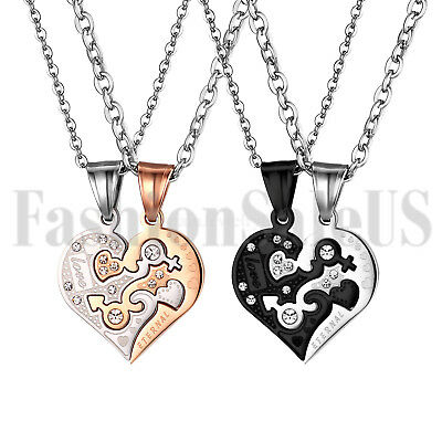 "2pc ""Love Eternal""Matching Heart Lovers Couples Pendant Stainless Steel Necklace"