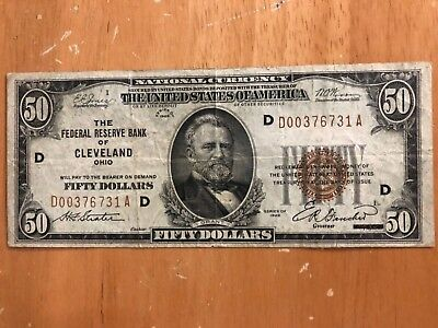 "1929 $50 Brown Seal National Currency ""CLEVELAND"" Choice FINE! X731 Old Currency"