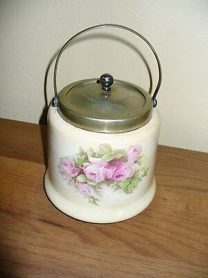Antique biscuit barrel jar floral England NR