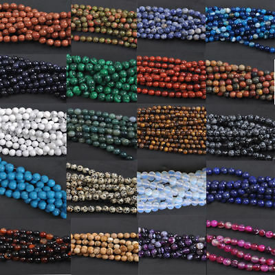 Wholesale Natural Gemstone Round Charm Loose Spacer Loose Beads 4MM 6MM 8MM 10MM