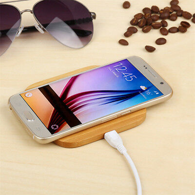 Qi Wireless Charger Wood Fast Charging Phone Pad Mat For Samsung iPhone 7 8 6 6S