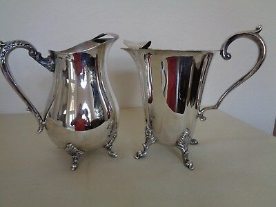 Vintage 2 Footed Silver Plate With Ice Lips & Claw Footed Water Pitchers Jugs