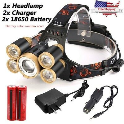 5X 80000LM 5-LED Zoom LED Rechargeable 18650 Headlamp Head Light Torch Charger