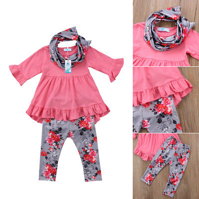 3pcs Floral Kids Baby Girls Outfits Clothes Long Sleeve Tops Dress+Pants Set UK
