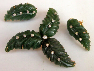 Vintage 14K Yellow Gold Dark Green Carved Jade LEAVES Earrings + Pin/Brooch
