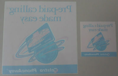Rare pair of Telstra PhoneAway shop decals for Pre-paid phonecards Mint & Unused