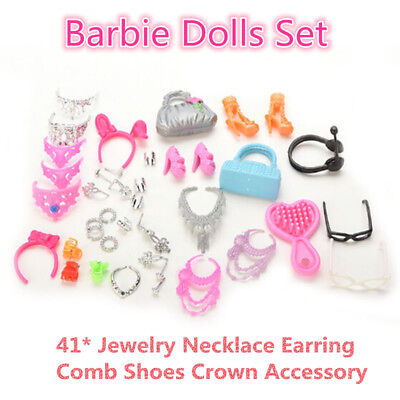 Barbie Dolls Set 41* Jewelry Necklace Earring Comb Shoes Crown Accessory EH POP
