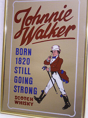 JOHNNIE WALKER WERBE-/REKLAMESPIEGEL SCOTCH WHISKY: 38 cm x 28 cm: METALL-RAHMEN
