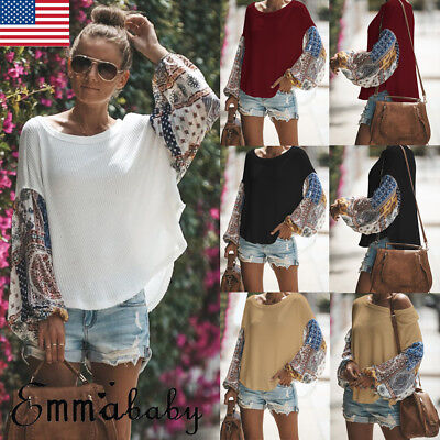 USA Womens Long Sleeve Oversized Jumper Boat Neck Pullover Tops Knit Sweater