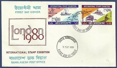 Bangladesh 1980 Mnh Fdc London Stamp Exhibition Mail Transport Boat Horse Post