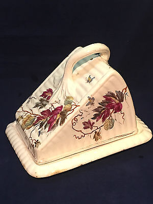Antique Cheese Dish by Franz Anton Mehlem, Bonn Germany, Floral + Cheese Knife