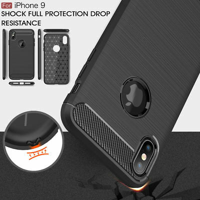 For iPhone XR/XS/Max, Shockproof Luxury Carbon Fiber Soft TPU Full Cover Case