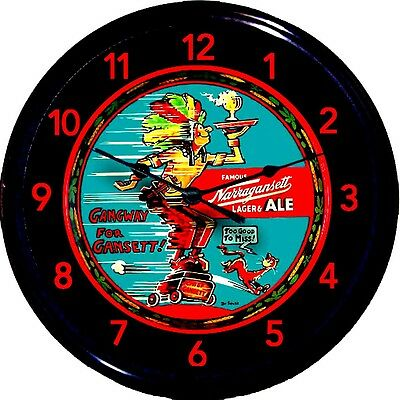 Narragansett Dr Seuss Chief Gansett Beer Tray Wall Clock Cranston RI Man Cave