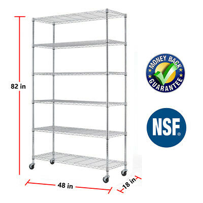 """6 Tier Commercial Wire Shelving Rack 48""""x18""""x82"""" Metal Rack W/Casters Chrome"""
