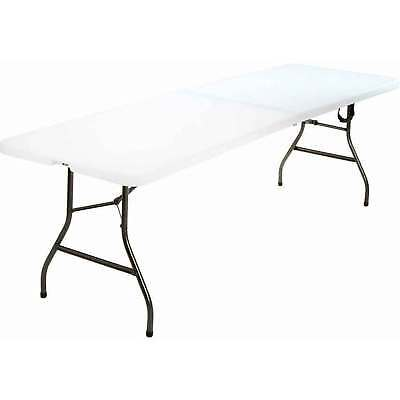 Portable Centerfold Folding Table Indoor Outdoor Camp Party Picnic Plastic White