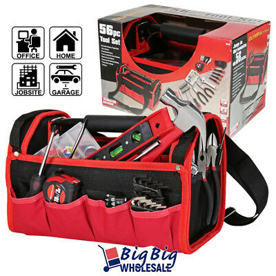 Olympia 56 Pieces Hand Tools Set Work Screwdriver Bit Kit Red&Black w/Tool Bag